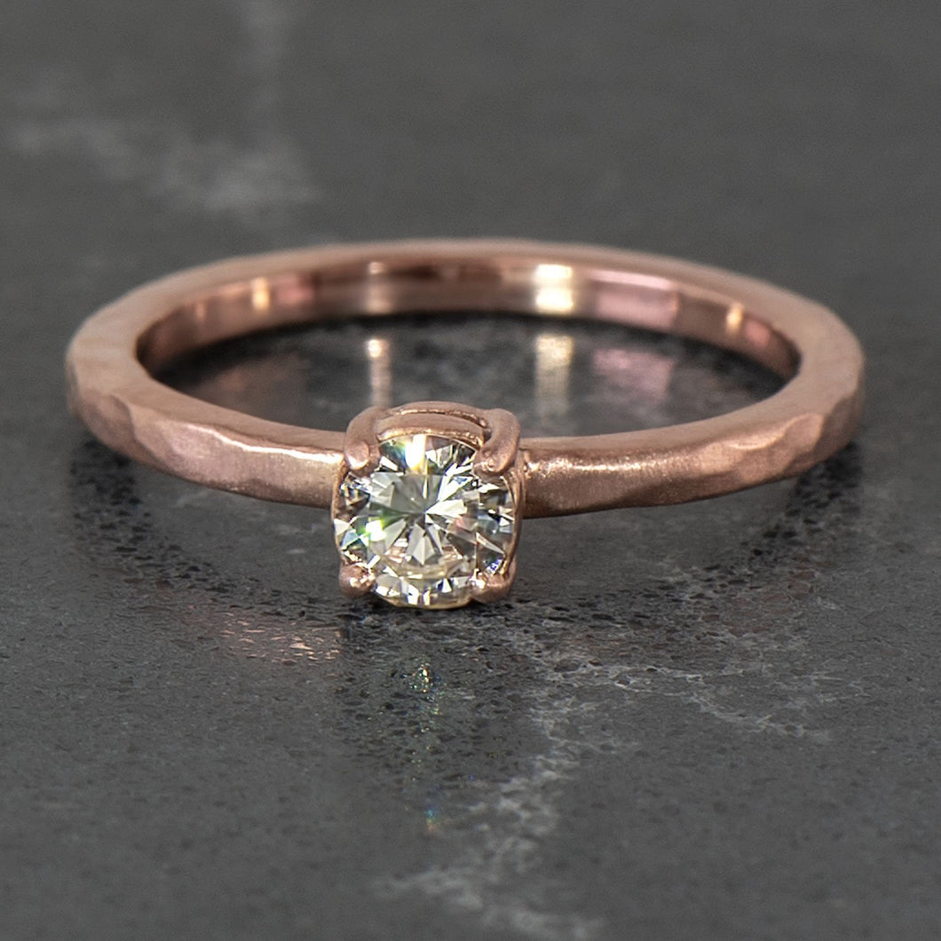 Diamond Hammer Finished Solitaire in Rose Gold