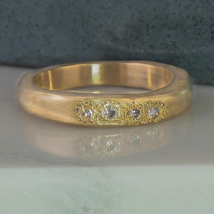 Diamond Signet Ring in Yellow Gold