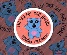 Load image into Gallery viewer, Cute COVID-19 vaccine sticker, proudly vaccinated vinyl laptop decal, corgi, koala fox, alpaca, bear, otter pun