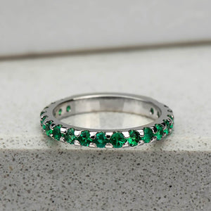 Emerald Three Quarter Eternity Band in White Gold