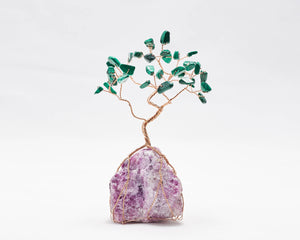 Malachite on Charoite Base Tree of Life Sculpture