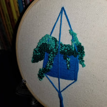 Load image into Gallery viewer, Hand embroidered succulent art hoop (blue/green)