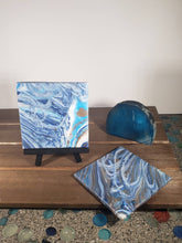 Load image into Gallery viewer, Blue White and Gold Acrylic Flow Ceramic Tile Coasters