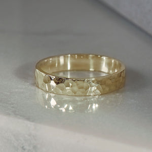 Hammer Finished Band Ring in Yellow Gold