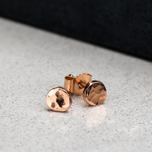 Load image into Gallery viewer, Hammer Finished Studs in Rose Gold