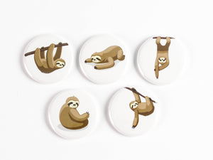 Sloths! Pinback Buttons or Strong Ceramic Magnets
