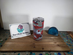 Camo Cloud Red and Grey 16oz Acrylic Flow Resin Tumbler