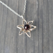 Load image into Gallery viewer, Garnet Flower Pendant