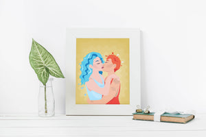 Fire and Water Poster - Sapphic love