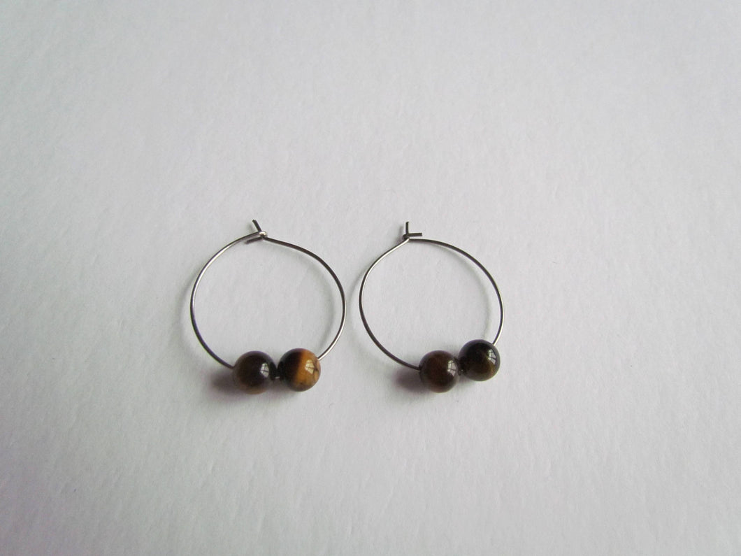 Stainless Steel Hoops (Tiger's Eye)