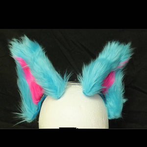 Cat Ears - Teal with Pink