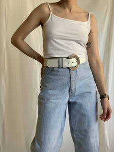 Winona - White Leather Belt
