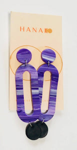 Long Marble Oval Polymer Clay Earrings in Purple and Green