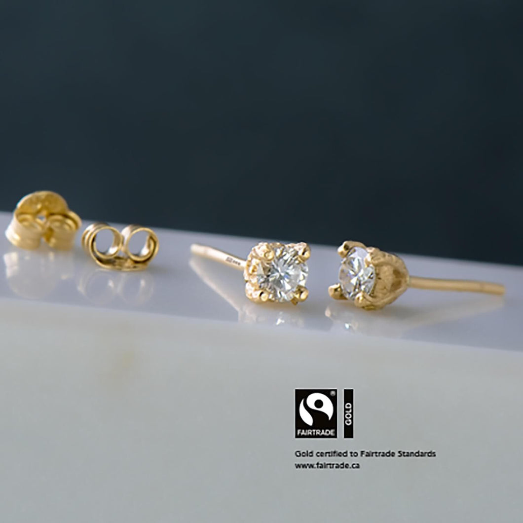 Recycled Diamond Baroque Studs with Fairtrade Certified Gold