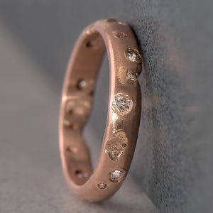 Recycled Diamond Kimberlite Ring in Rose Gold