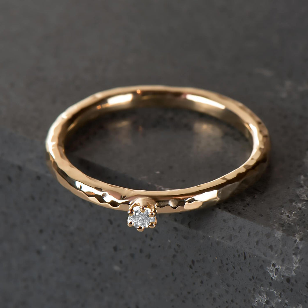 Recycled Diamond & Yellow Gold Hammer Finished Ring