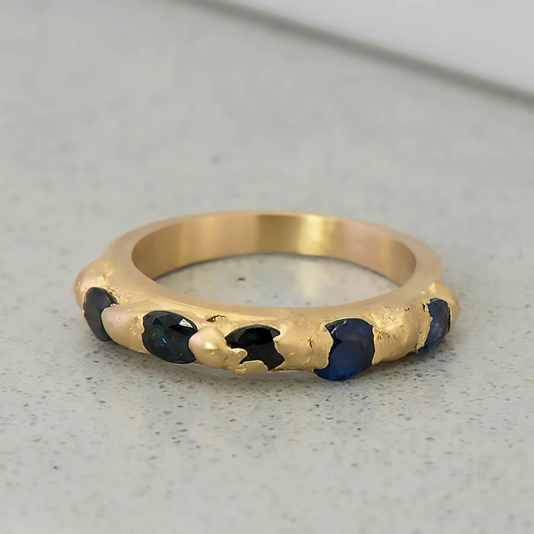 Recycled Sapphire Row Kimberlite Ring in Yellow Gold