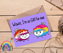 Load image into Gallery viewer, Personalized Valentine's Day card, Valentine's Day Custom Wowie, I'm so gay for you! Cute rainbow pride sheep LGBTQIA+, greeting card