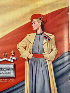 1948 Forstmann Ad, 40s Ladies Fashion Ad, Vintage Wool Company, Chic Fashion Poster, Wartime Advertising, Life Magazine, Bedroom Wall Art