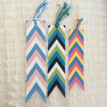 Load image into Gallery viewer, Custom Striped Pride Flag Banner Laminated Bookmark with Tassels