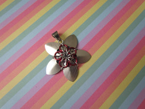 Scale Flower Pendant (Brushed Silver/Red)
