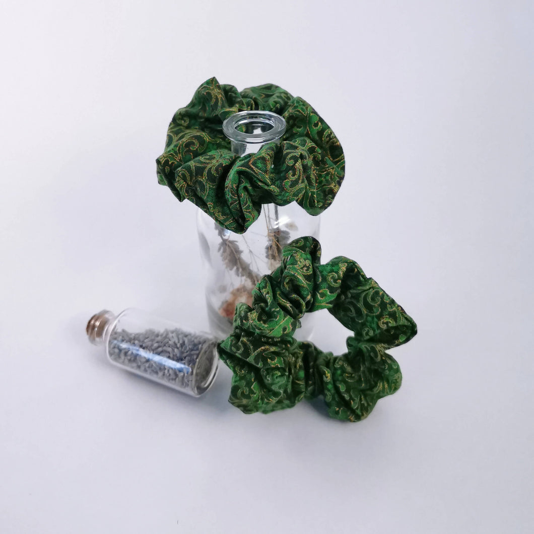 Green Gold Baroque Print Scrunchie
