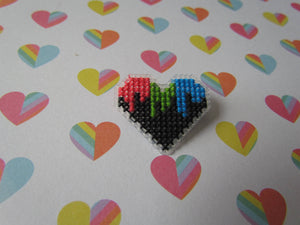 Cross Stitched Pride Flag Pins - POLYSEXUAL DRIPPY HEART