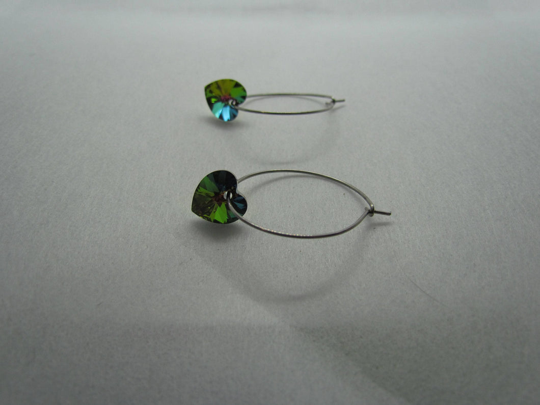 Stainless Steel Hoops (Dark Vitrail Rainbow Swarovski Hearts)