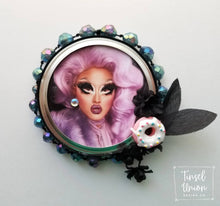 Load image into Gallery viewer, Handmade glittered Kim Chi RuPaul's Drag Race Christmas ornament, drag queen, glitter art, fan art, gift