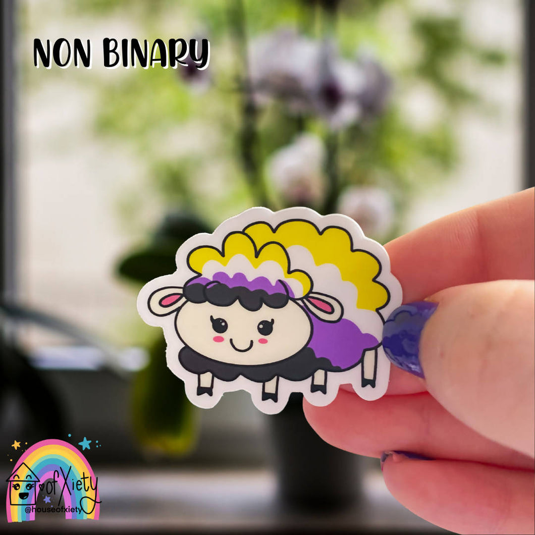 Non-binary pride sheep sticker