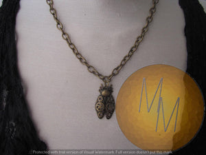 STEAMPUNK Buggy Beetle Bronze Choker Necklace