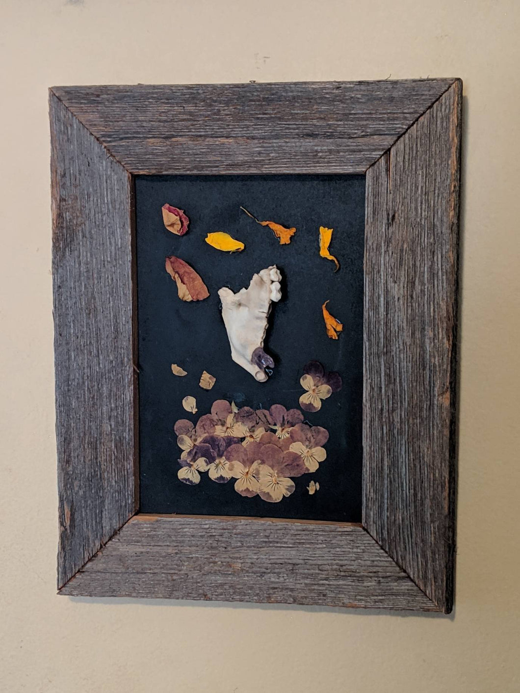 Mandible with amethyst and dried flowers framed shadowbox