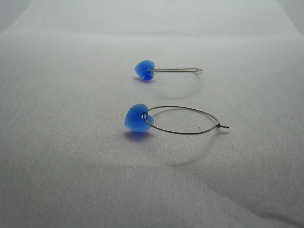 Stainless Steel Hoops (Royal Blue Swarovski Hearts)