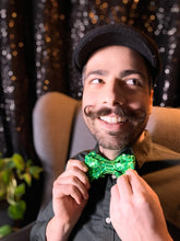 Load image into Gallery viewer, Green Sequin Bow Tie with Adventure Time Pocket Square