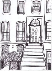 Exterior and Interior of Homes, Black and White Hand Drawings