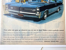 Load image into Gallery viewer, 1963 Pontiac Grand Prix Ad, American Classic Cars, 60s Car Poster, Living Area Wall Decor, Blue Car Art, Vintage General Motors