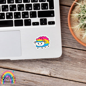Pansexual pride sheep sticker