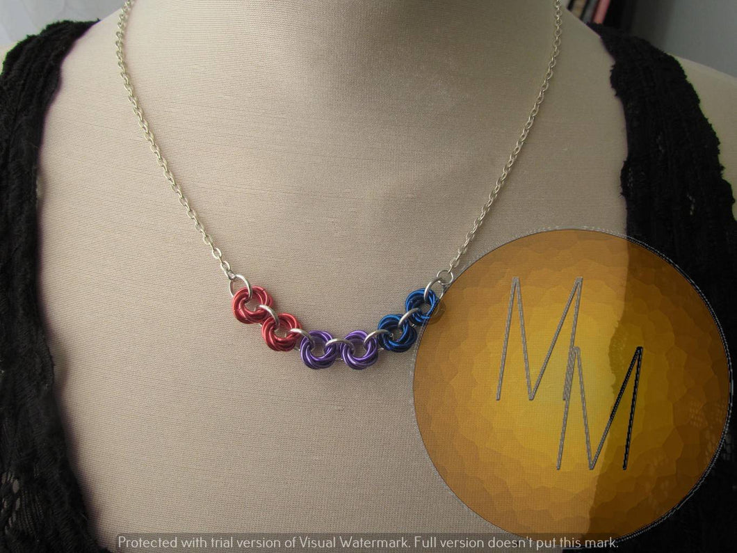 Chainmail Rosette Necklace Pride flag Bisexual Pride