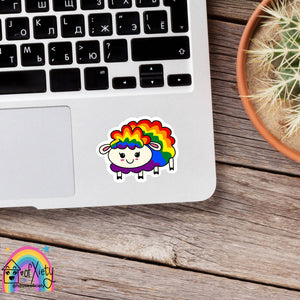 Rainbow gay pride sheep sticker