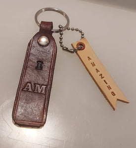 """I AM"" Keychain with Dog Tag"