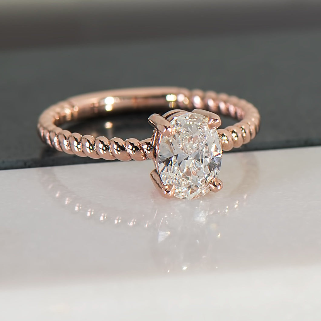 Diamond Spiral Ring in Rose Gold