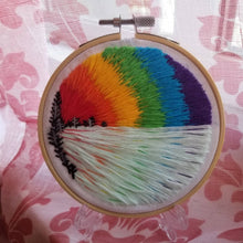 Load image into Gallery viewer, Dont be afraid to make waves. Hand embroidered landscape art hoop with a rainbow and lake and trees for LGBTQ pride month