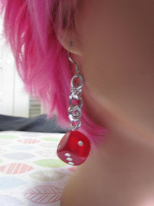 Frosted Red d6 Chainmail Earrings STAINLESS STEEL HOOKS