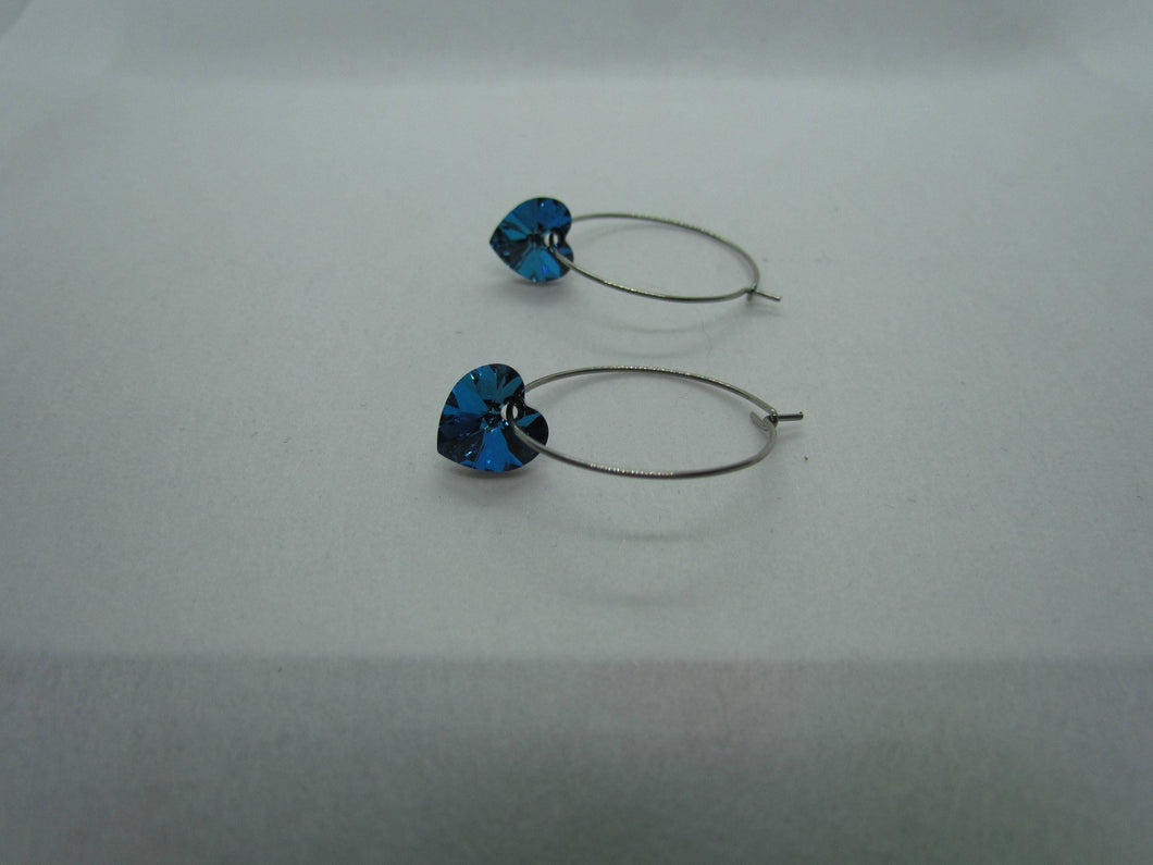 Stainless Steel Hoops (Bermuda Blue Swarovski Hearts)