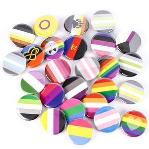 Pride Flags! LGBTQ Pride: Pinback Buttons or Strong Ceramic Magnets