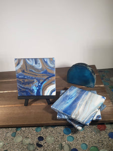 Blue White and Gold Acrylic Flow Ceramic Tile Coasters