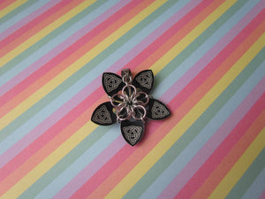 Scale Flower Pendant (Black Celtic Knot/Pink REVERSIBLE)