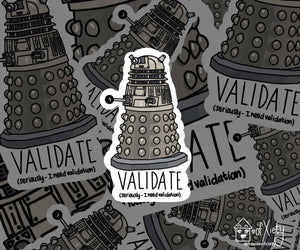 "Validate robot sticker, 3"" vinyl die cut laptop sticker"