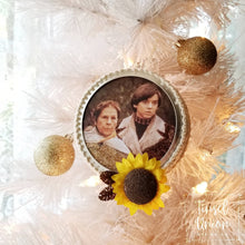 Load image into Gallery viewer, Handmade Glittered Harold and Maude Christmas Ornament, glitter art, fan art, gift