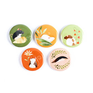 Floral Rats Pinback Buttons or Strong Ceramic Magnets